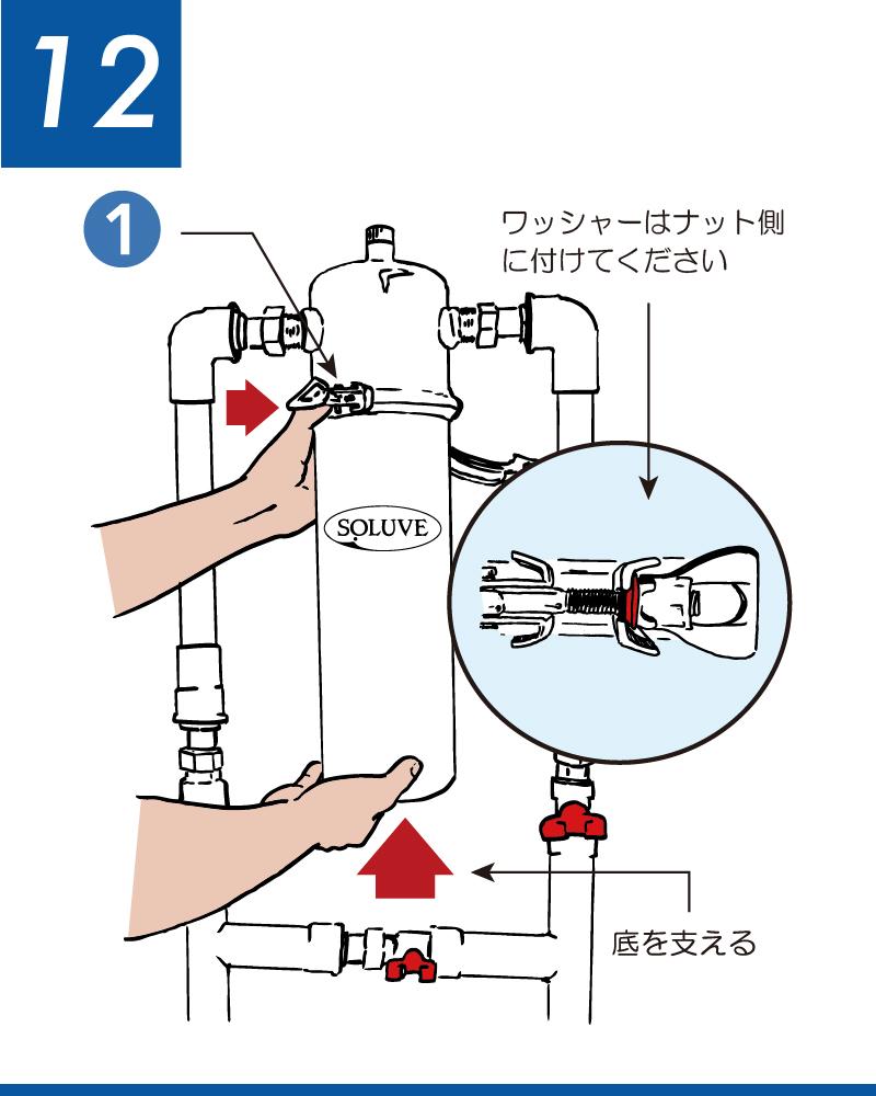 ソリューヴフィルター交換手順 ハウジング・ボディをハウジング・キャップのネジにあわせて、締め付けバンドを取り付けます。
