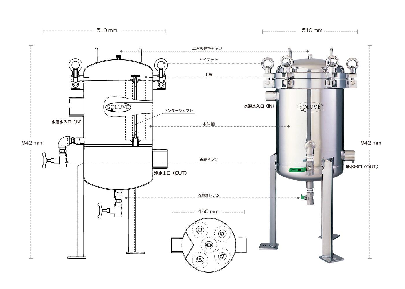セントラル浄水器ソリューヴ業務用SB-5型のイメージ図