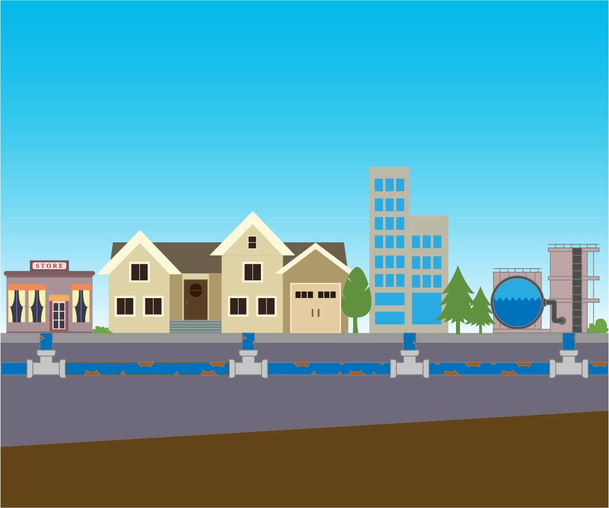 「水道管の劣化を説明するイメージ図」画像